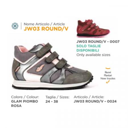 scarpa duna JW03 roound velcro glam rosa piombo (2)